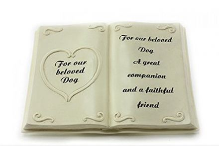 Beloved Dog ~ Bible Book with Heart Graveside Pet Memorial